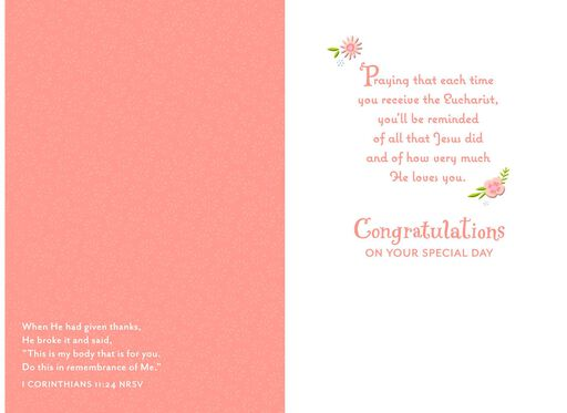 Gold Cross and Pink Flower Wreath First Communion Card,