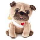Pug stuffed animal dressed up like Cupid