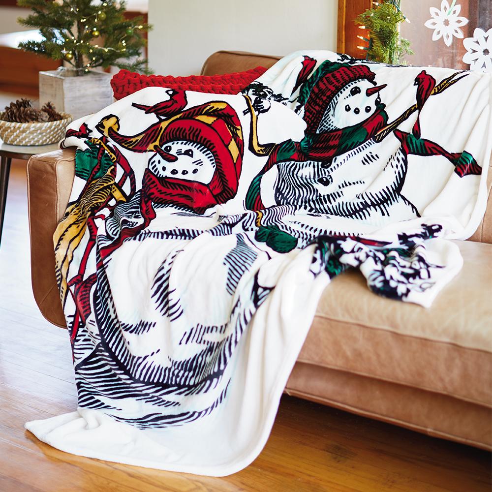 Christmas in Evergreen Snowman Blanket