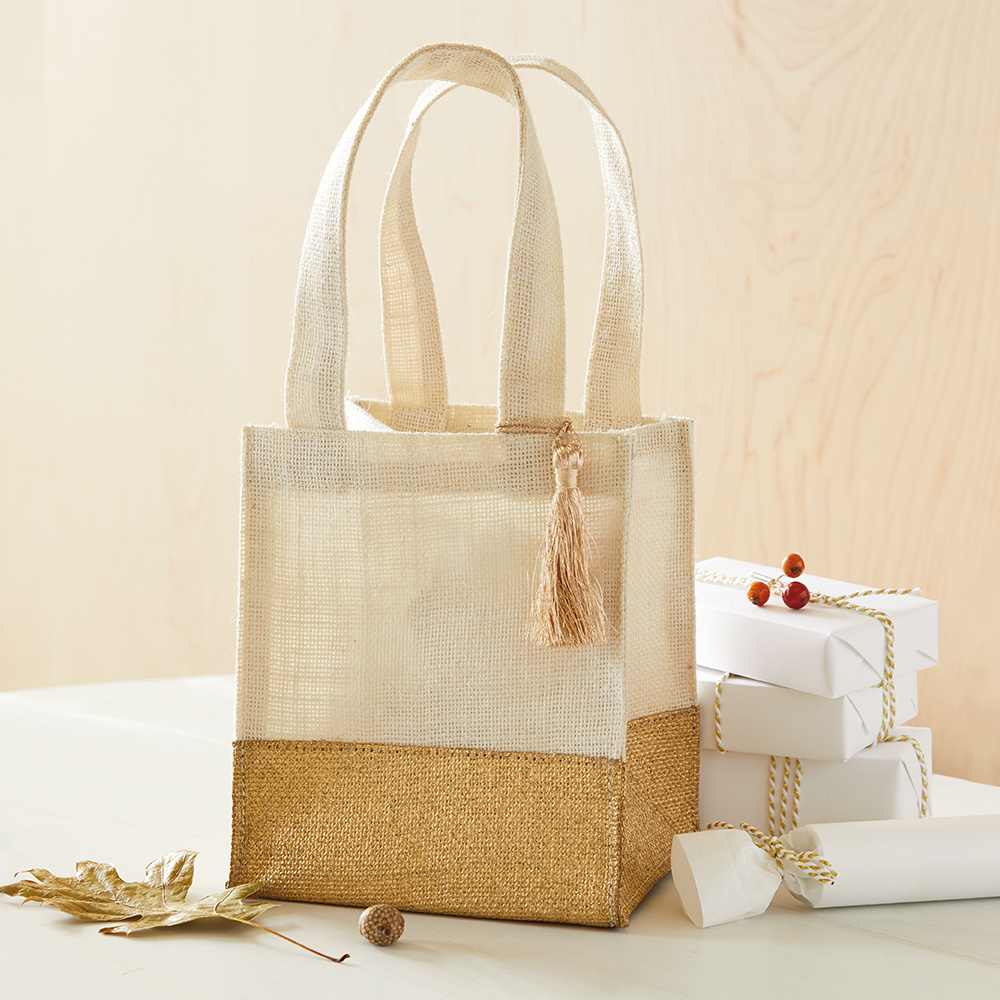 """7"""" Gold-Dipped Burlap Gift Bag With Tassel"""