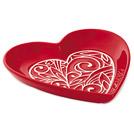 Ceramic heart-shaped, embossed dish