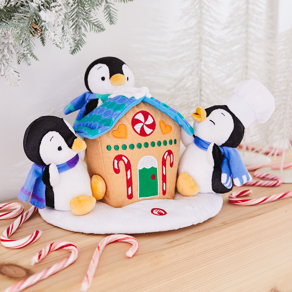 Gingerbread Treat Playful Penguins Plush with Sound and Motion