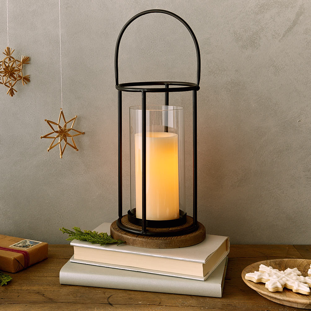 Metal Pillar Candle Lantern