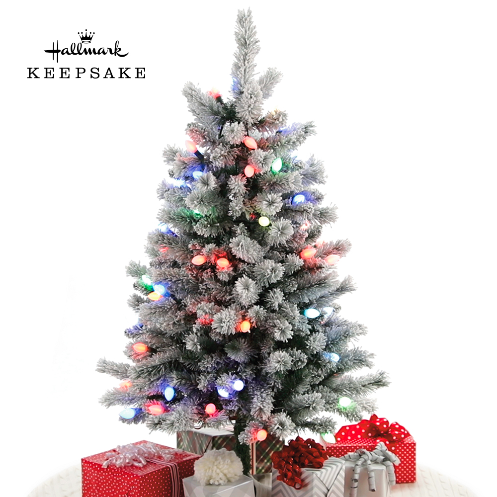 Sound-A-Light Musical Flocked Christmas Tree With Lights, 4'