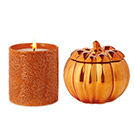 Coppered Pumpkin and Autumn Leaf Candles