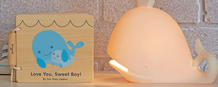 Wooden whale book and whale lamp