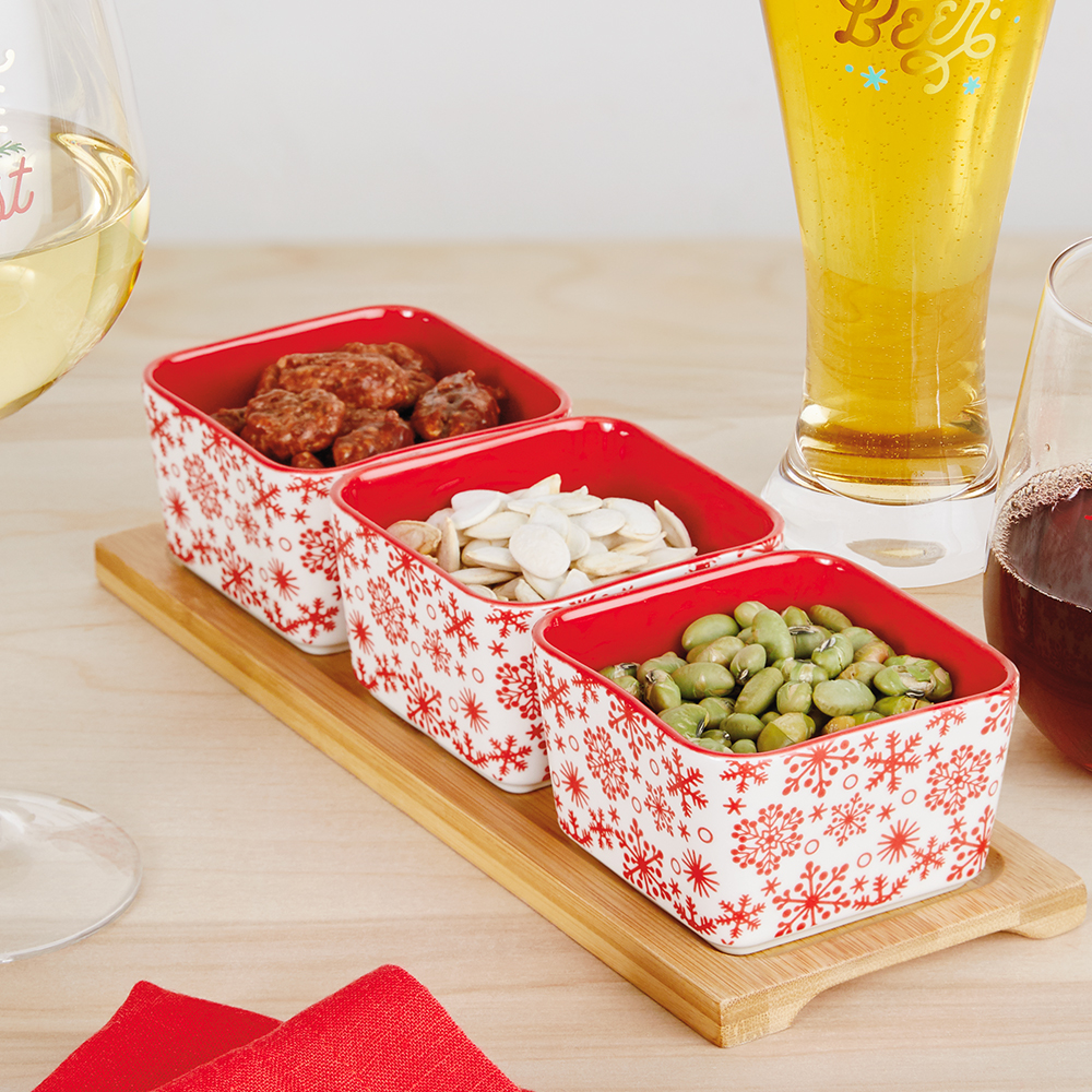 Snowflake Dishes and Serving Tray Set