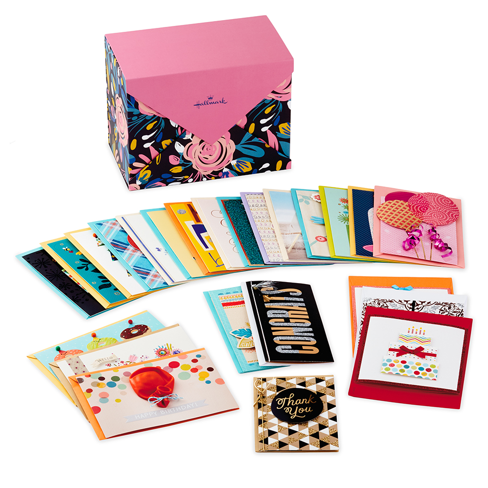 Assorted Cards for All Occasions in Floral Organizer Box