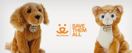 Golden dog and orange tabby pets stuffed animals