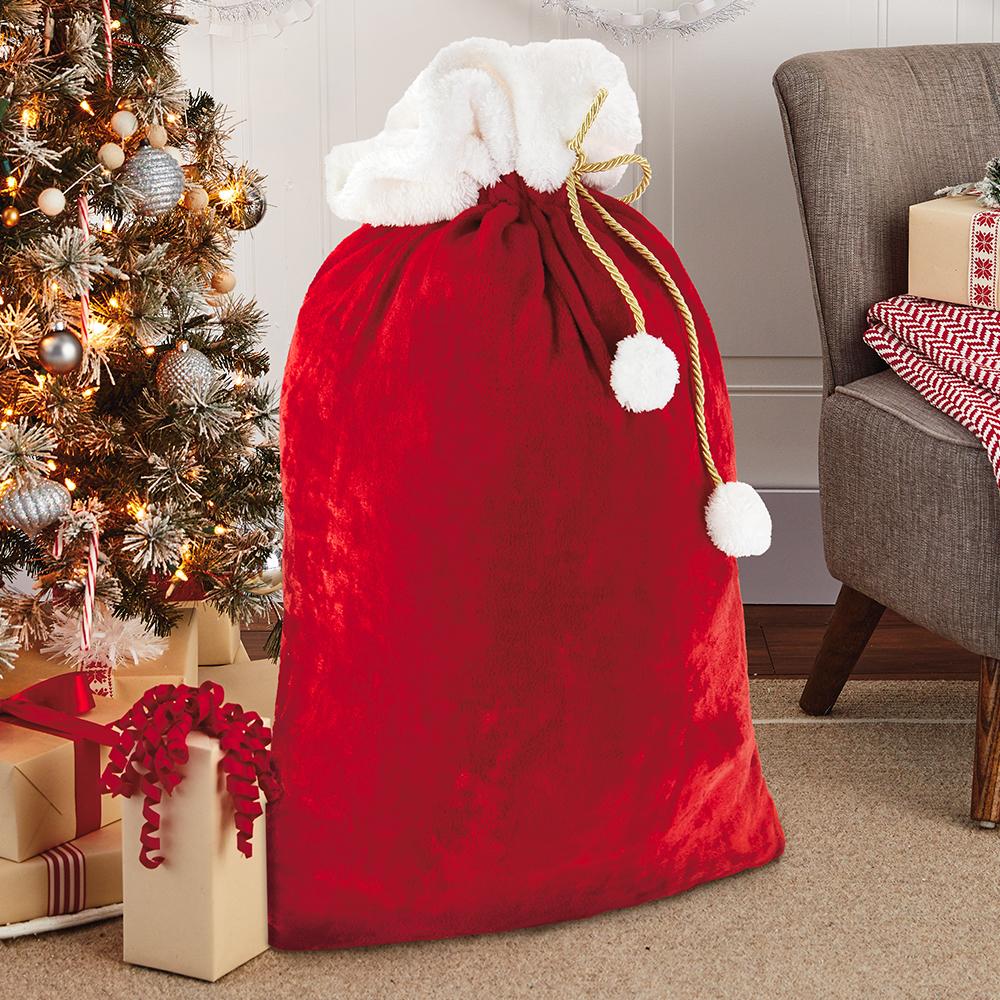 Velvet Flannel Santa Sack Christmas Gift Bag