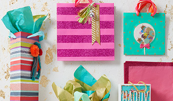 Gift wrap and bags featuring sophisticated mixed textures