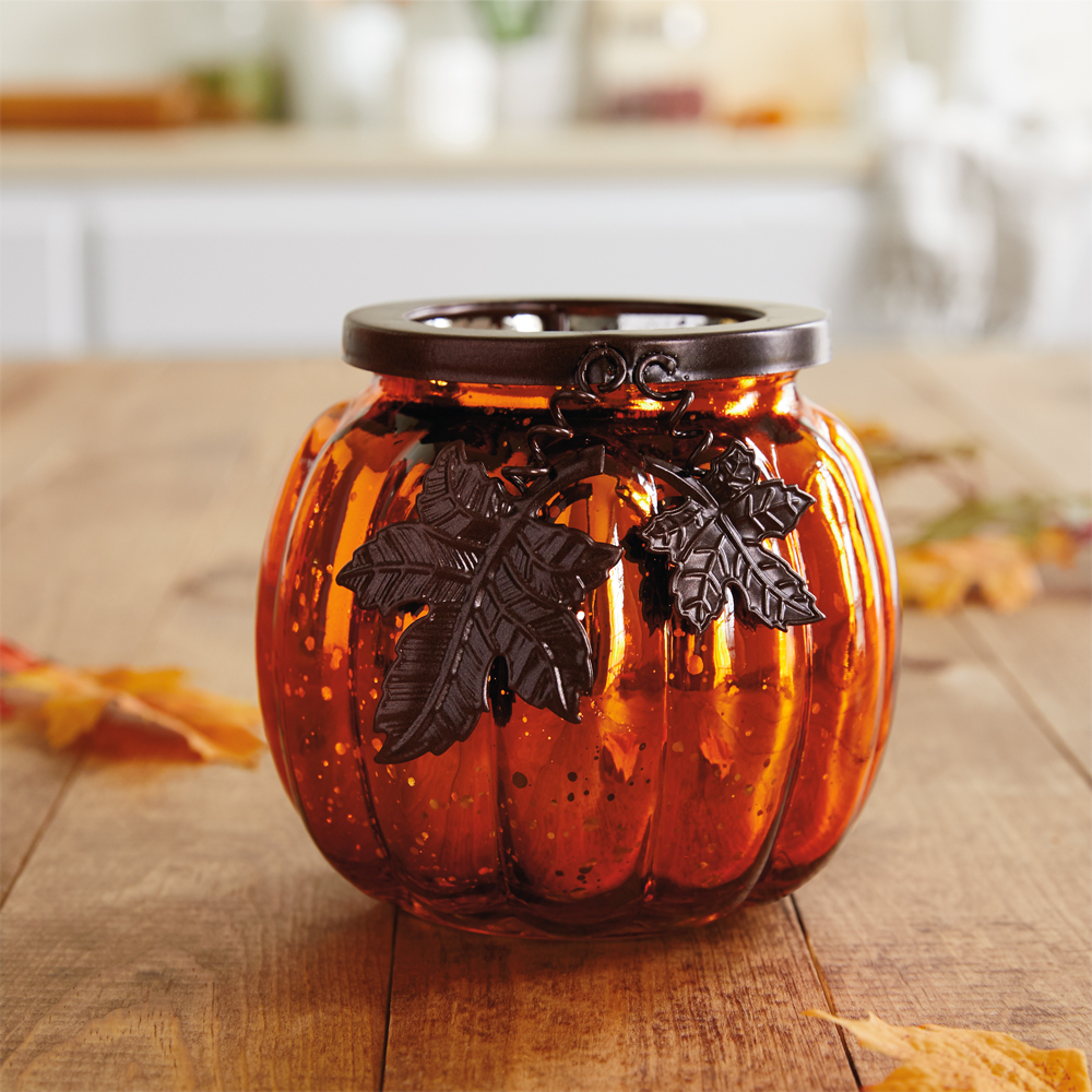 Mercury Glass Pumpkin LED Candle Holder