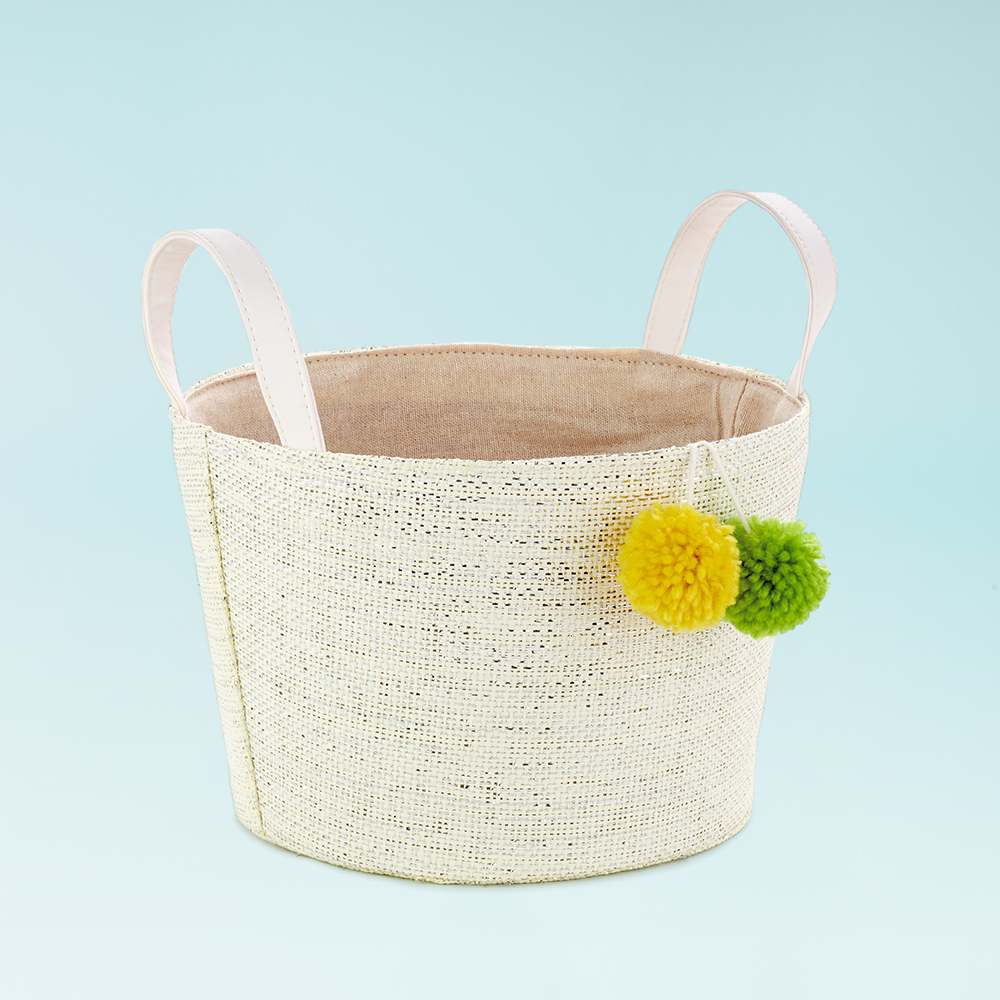 White Woven Easter Basket With Pom-Poms