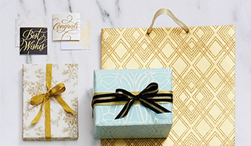 Gift wrap and bags designed with elegant colors and patterns