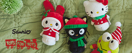 Shop these holiday Hello Kitty®, My Melody®, Keroppi® and Chococat® itty bittys and help Toys for Tots, too.