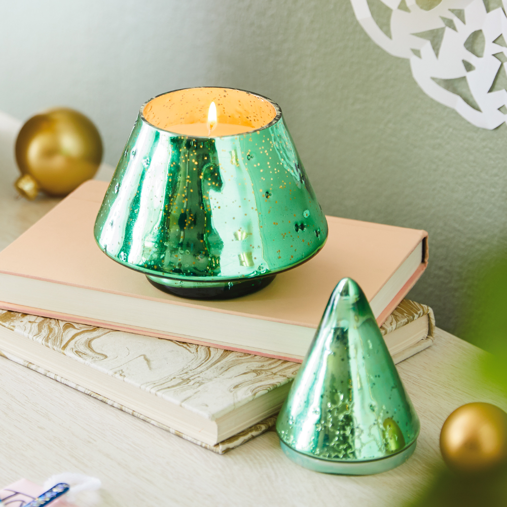 Mercury Glass Christmas Tree Candle