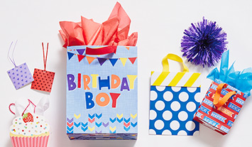 Gift bags and tissue designed specially for kids