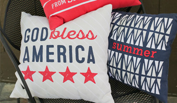 Red, white and blue indoor/outdoor pillows