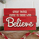 Believe home decor sign
