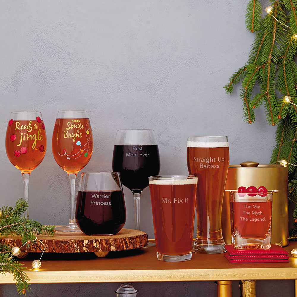Drinks on You Glasses and Holiday Barware Glasses