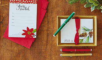 Find memo pads, thank you notes, invitations and more for the holidays.