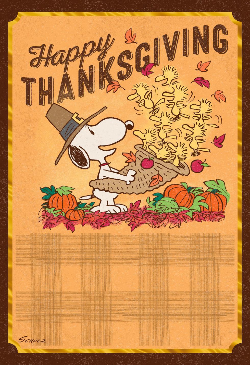 Peanuts 174 Snoopy And Woodstock Cornucopia Thanksgiving Card