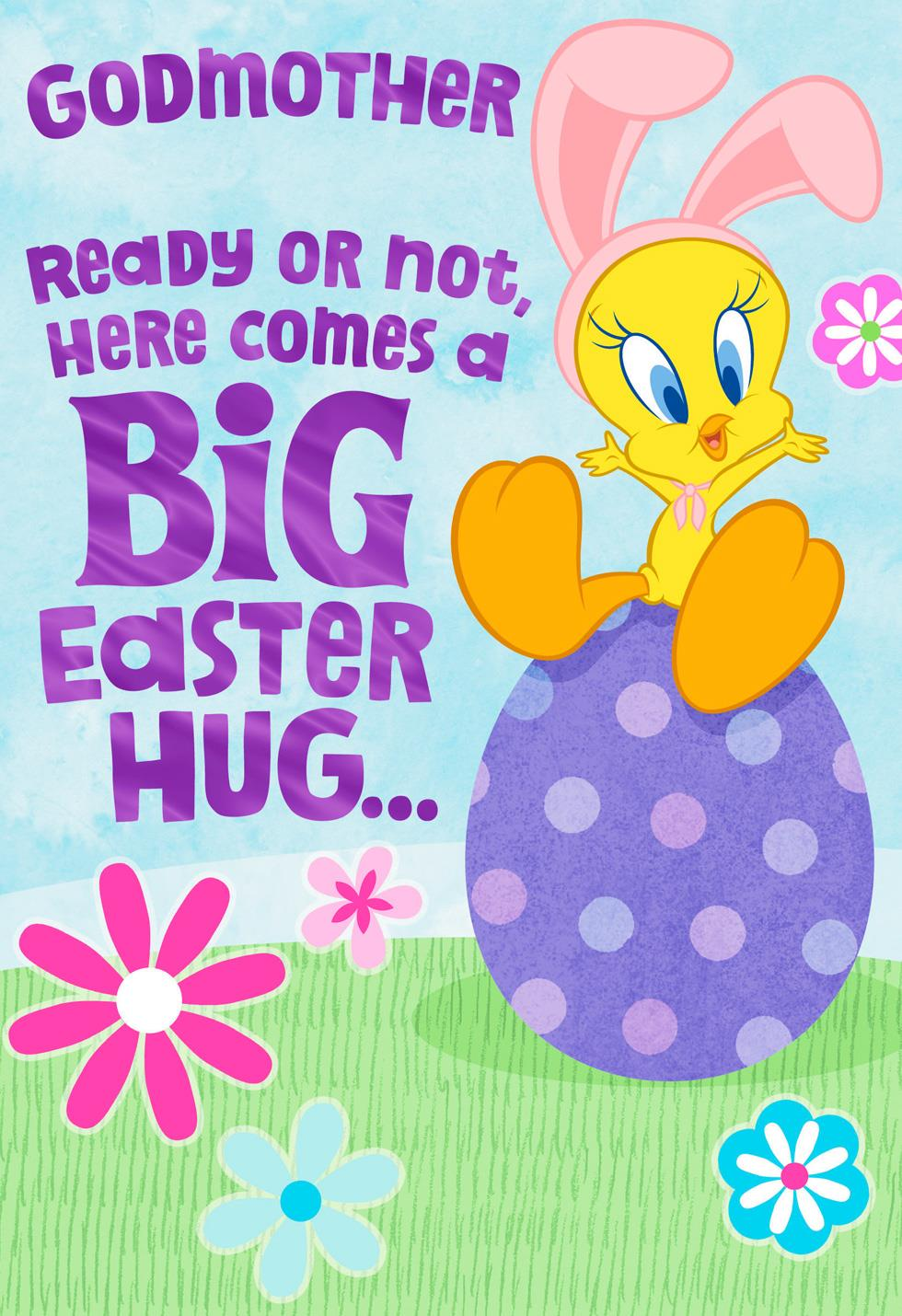 Hugs From Tweety Easter Card For Godmother Greeting
