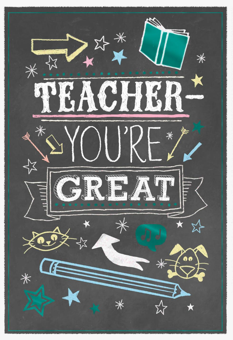 Chalkboard Doodles Thank You Card For Teacher Greeting