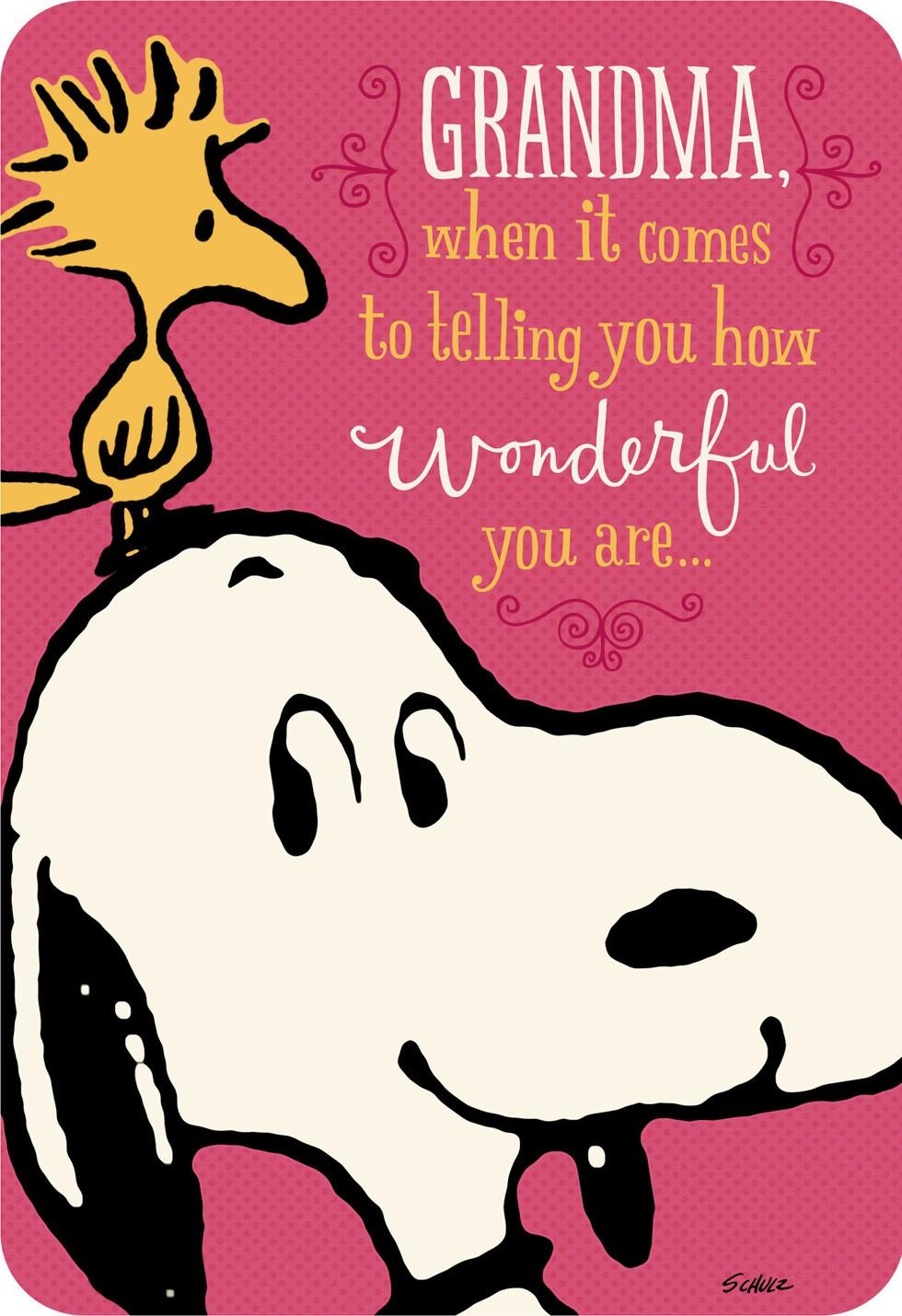 Peanuts 174 You Re Wonderful Grandma Birthday Card