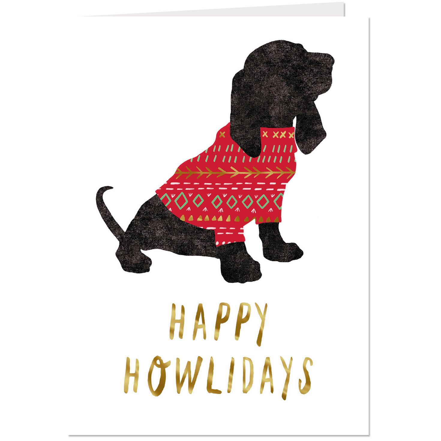 Happy Howlidays Dog in Christmas Sweater Christmas Card - Greeting ...