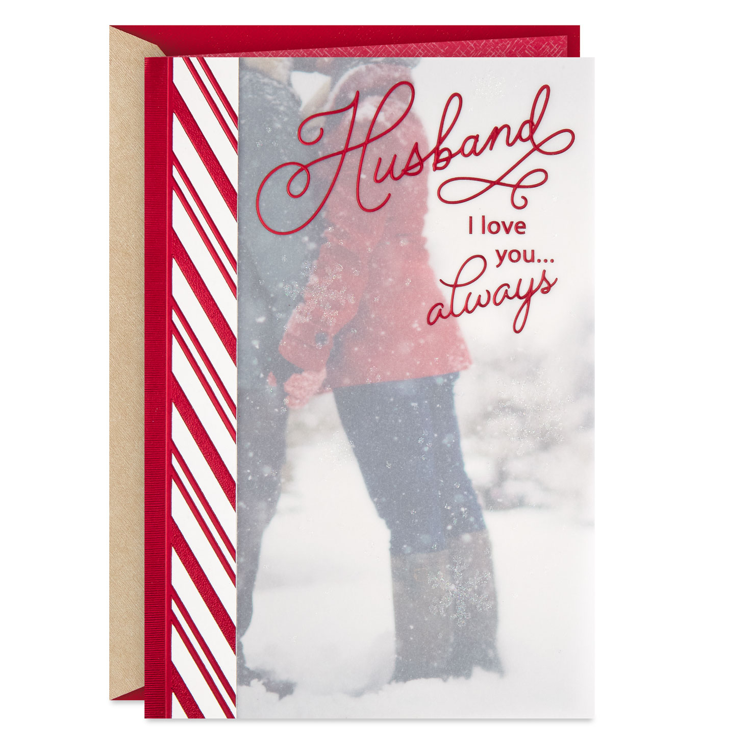 loving you with all my heart christmas card for husband