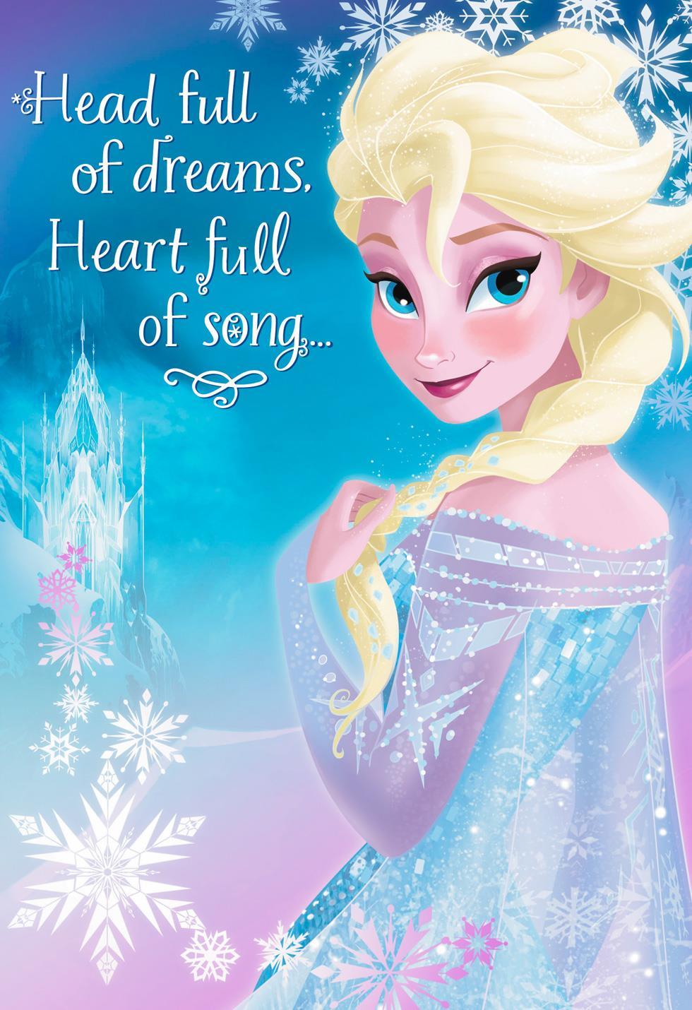 Disney frozen enjoy the feeling musical birthday card