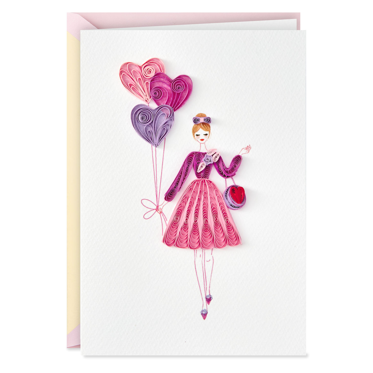woman with heart balloons quilled paper birthday card