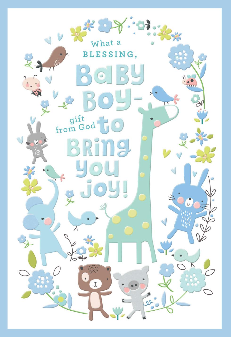 giraffe and animal friends new baby boy card