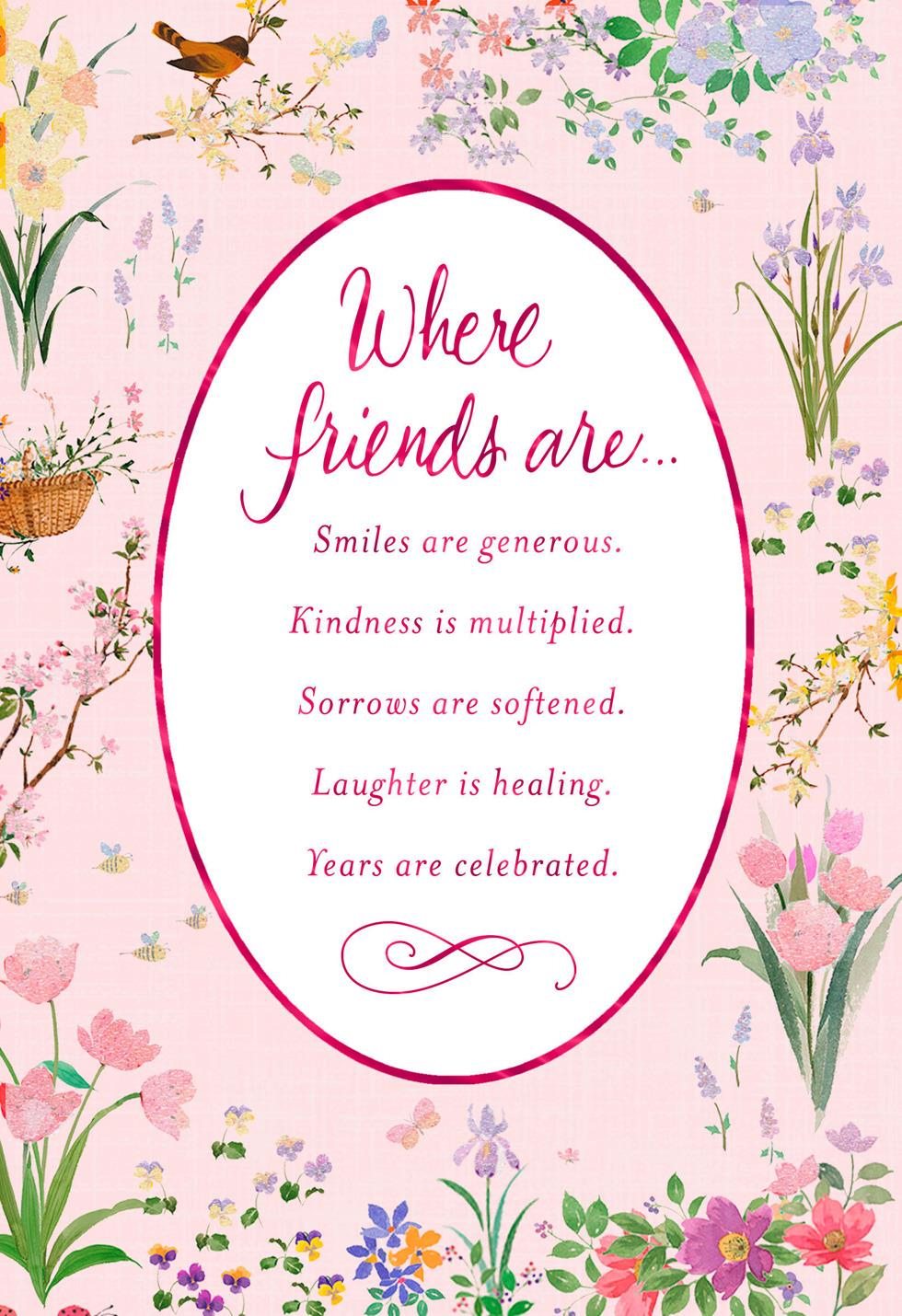 floral border birthday card for friend