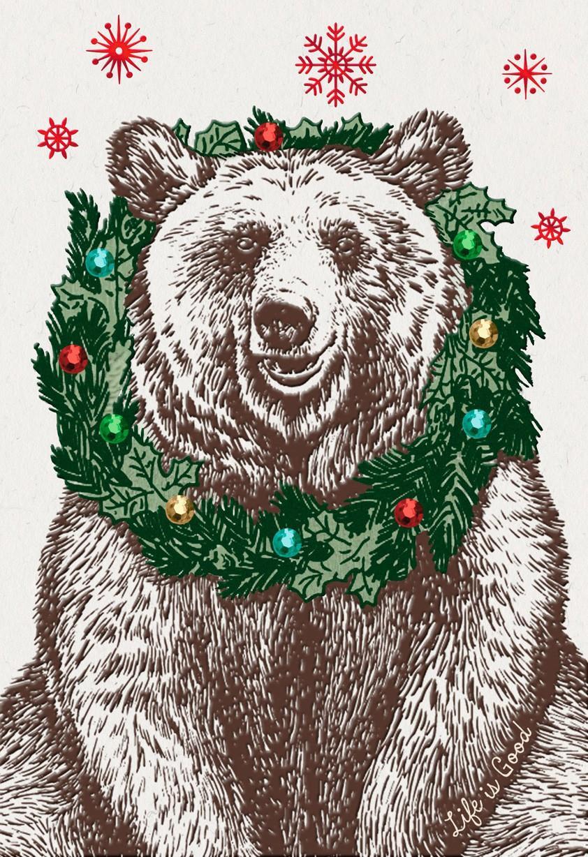 Life Is Good 174 Nice Bear Christmas Card Greeting Cards