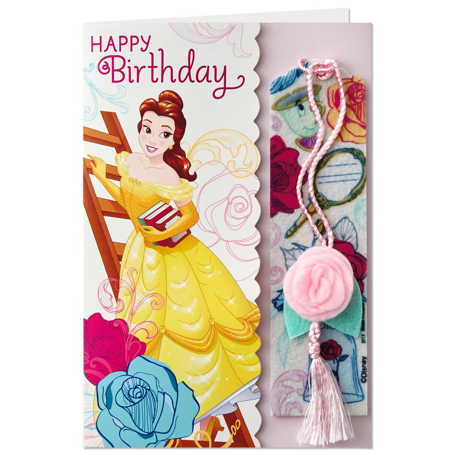 Beauty And The Beast Belle Birthday Card With Bookmark