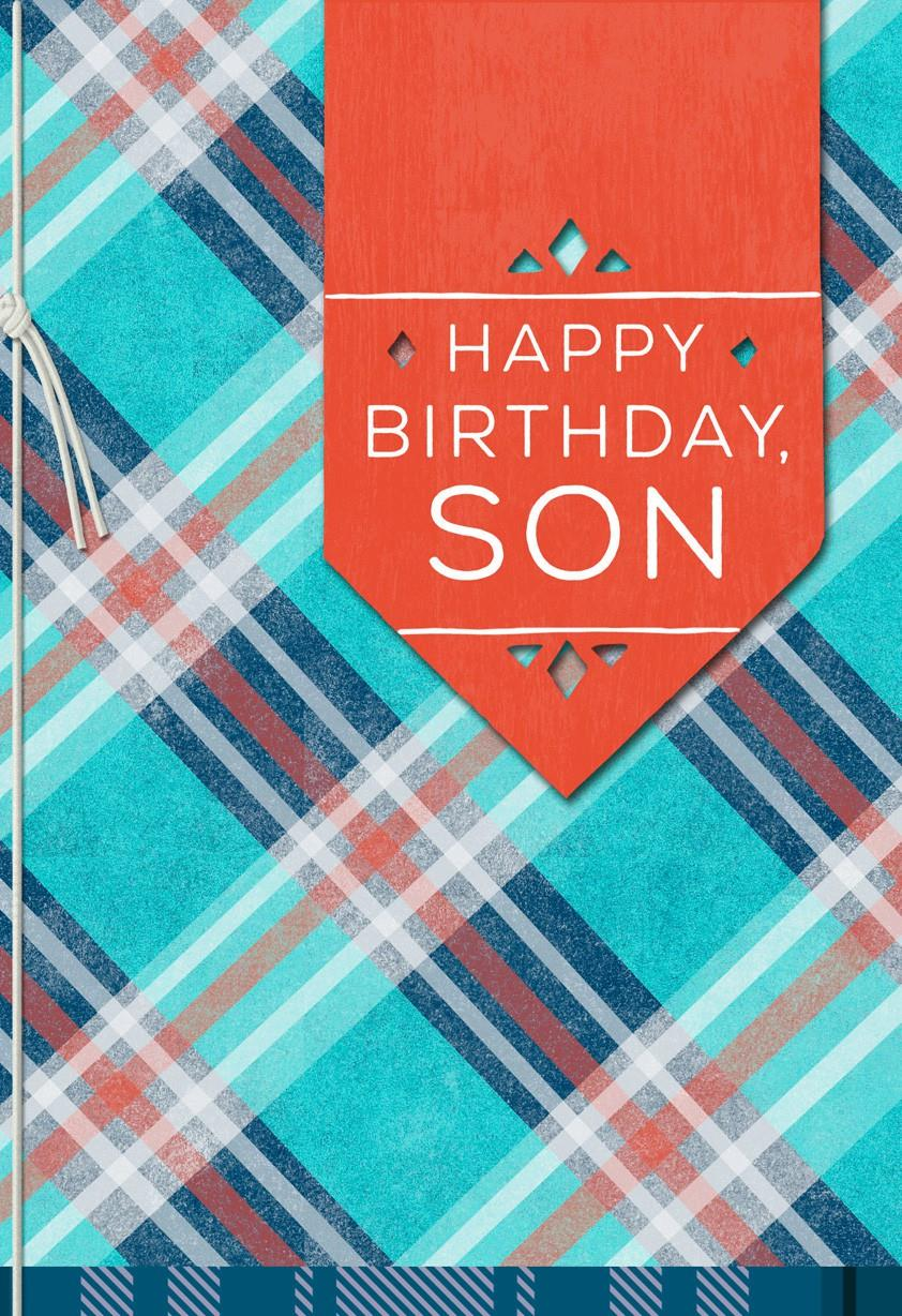 plaid birthday card for son - greeting cards