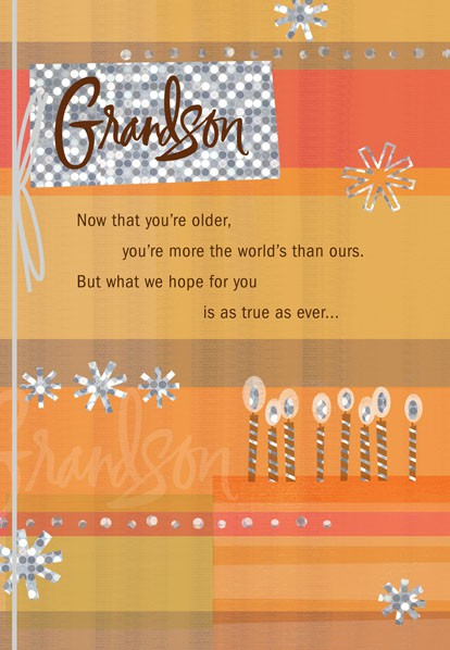 Grown Up Grandson Cake Birthday Card