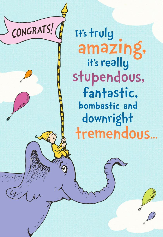 dr  seuss u2122 elephant parade congratulations card