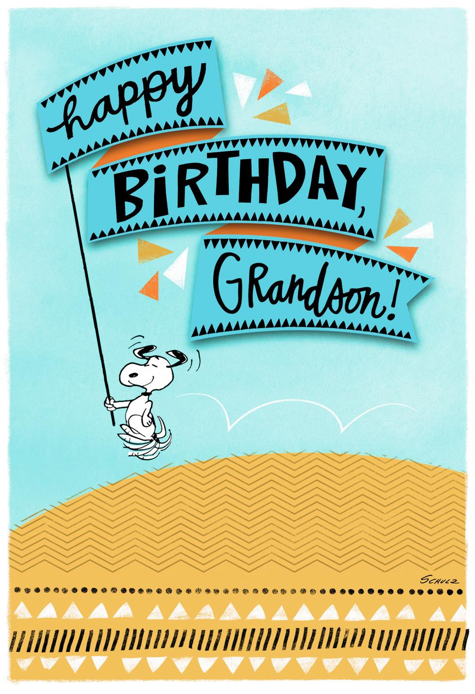 PeanutsR Snoopy All Happy Birthday Card For Grandson