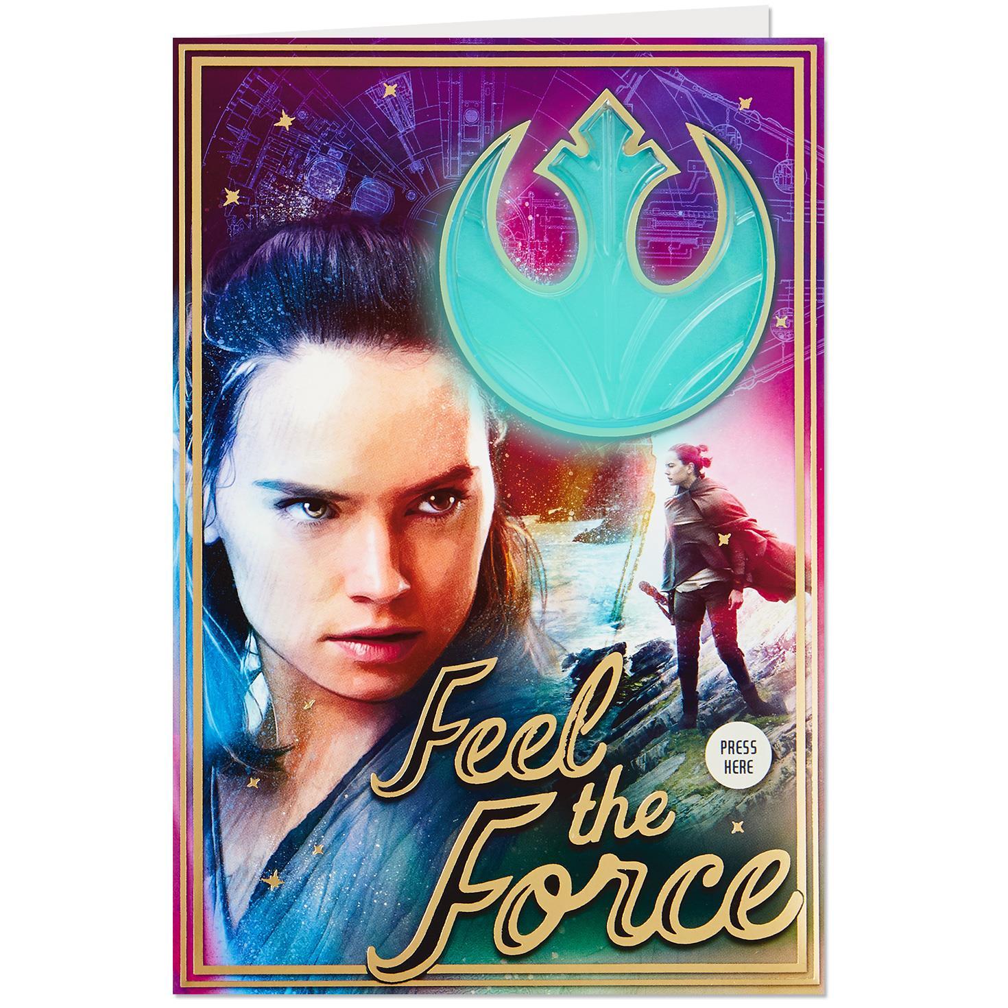 Star Wars Rey Musical Birthday Card With Light Greeting Cards Hallmark