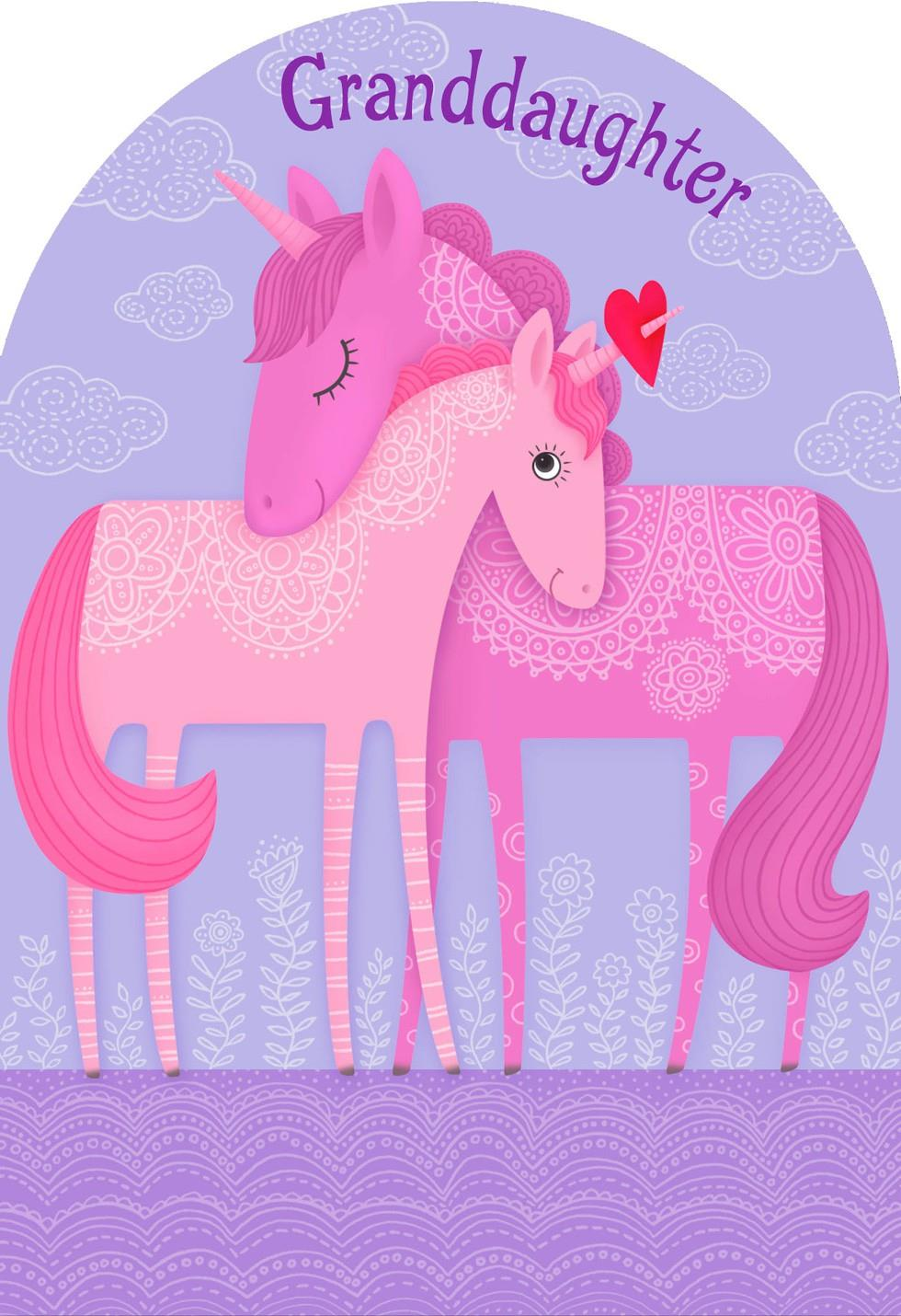 Unicorn Hug Valentines Day Card for Granddaughter Greeting – Horse Valentines Day Cards