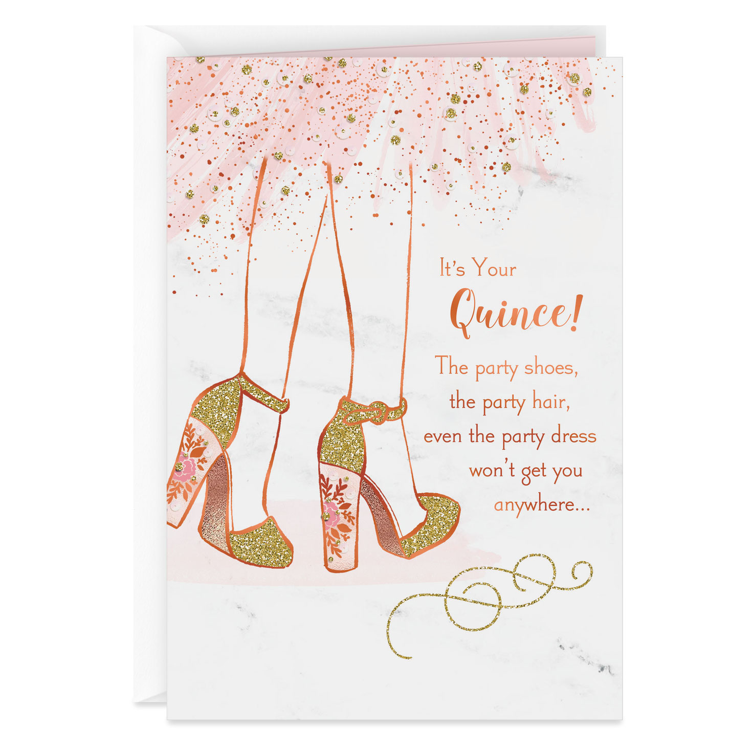 Sparkly Party Shoes Birthday Card for Quinceañera
