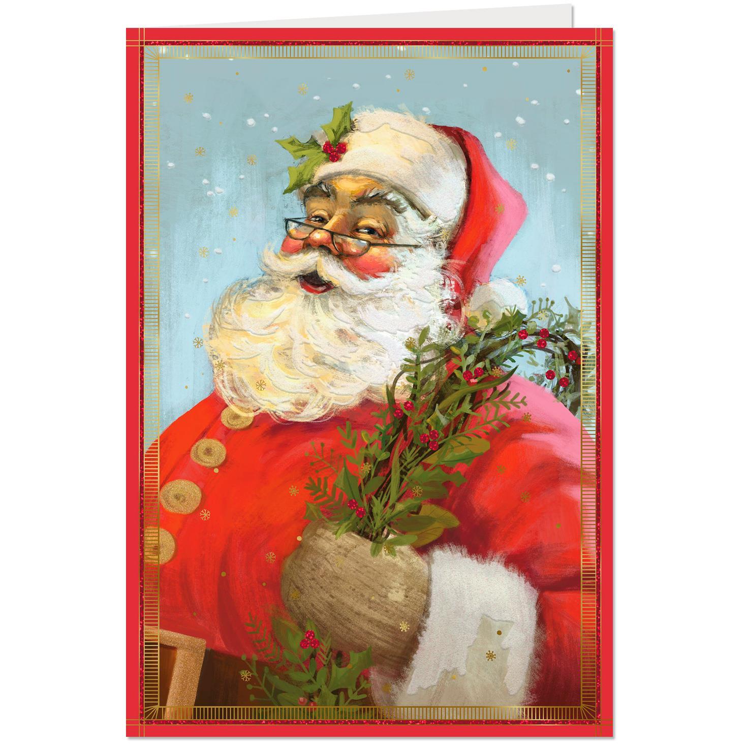 Ho, Ho, Ho Santa Claus Portrait Christmas Card - Greeting Cards ...