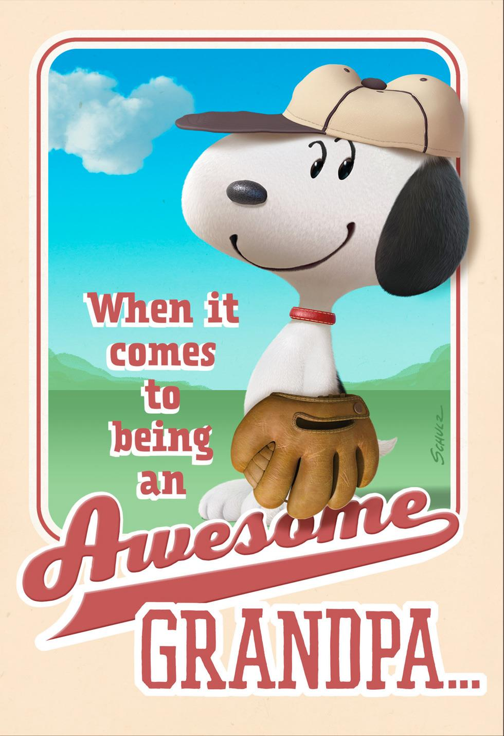 Peanuts 174 Awesome Grandpa Snoopy Baseball Father S Day Card
