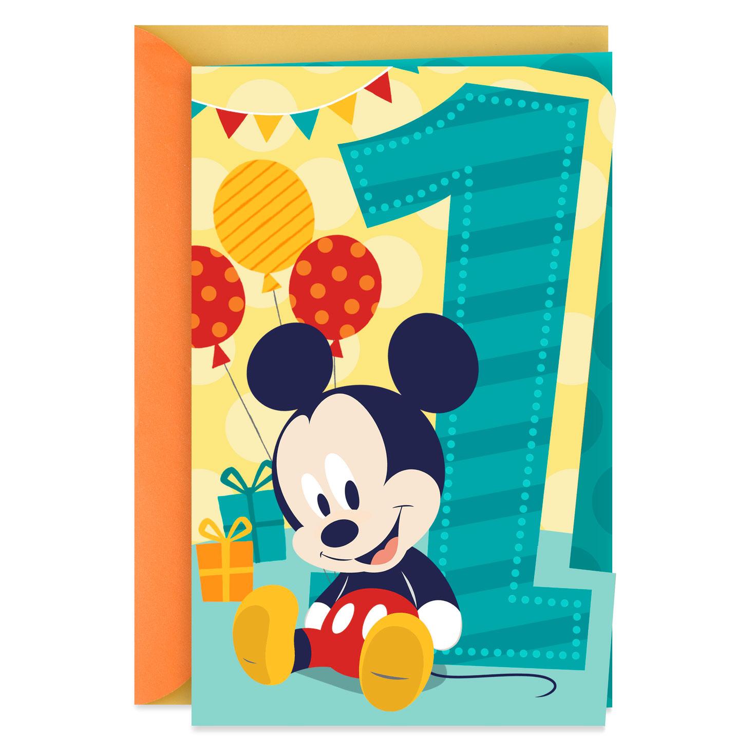 Minnie Mouse Musical 1st Birthday Card: Mickey Mouse Musical 1st Birthday Card