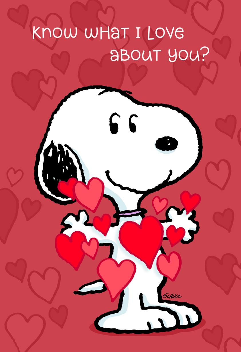 peanuts love everything about you valentines day card
