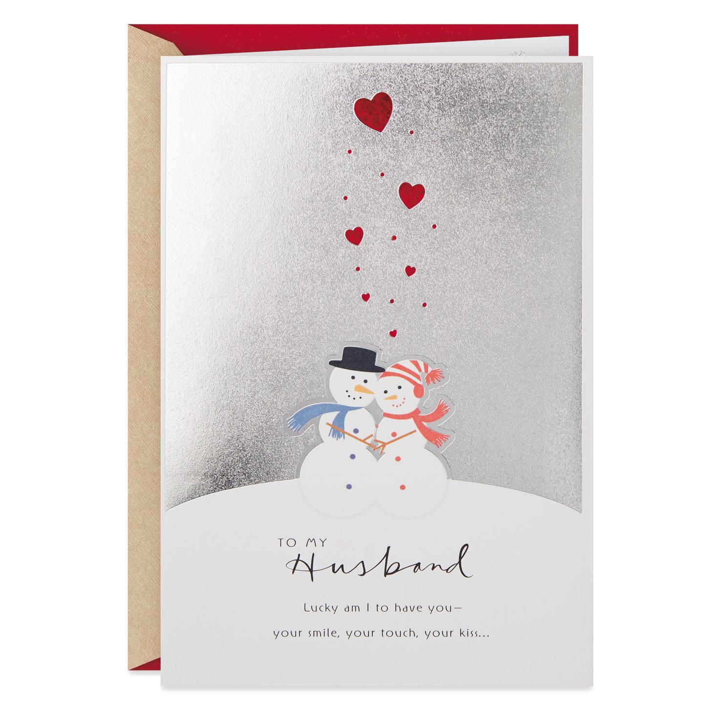 Husband Christmas Cards.Hugging Snowman Couple Christmas Card For Husband