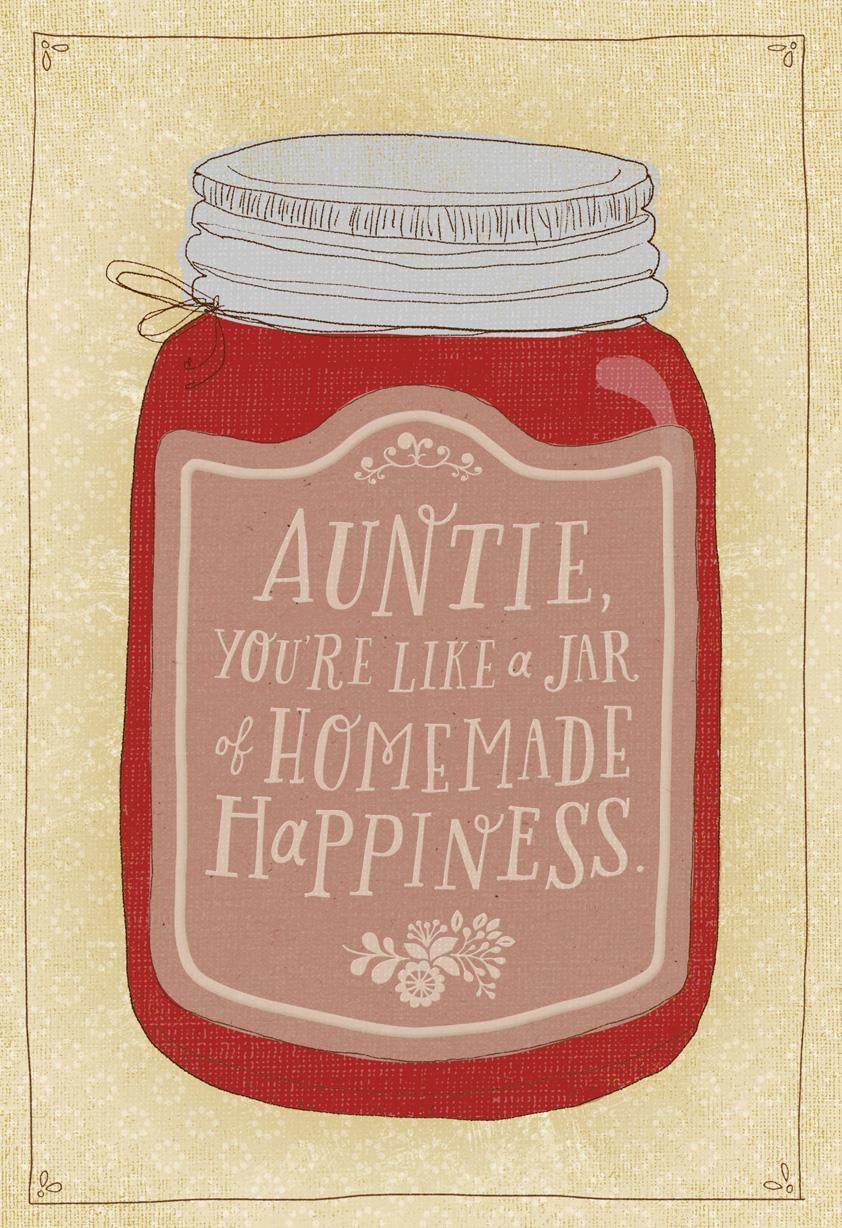 jar of homemade happiness birthday card for aunt